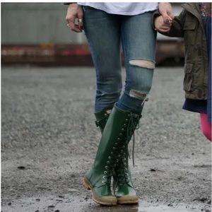 Hunter Watling Tall Lace Up Rubber Rain Boots 4M5F